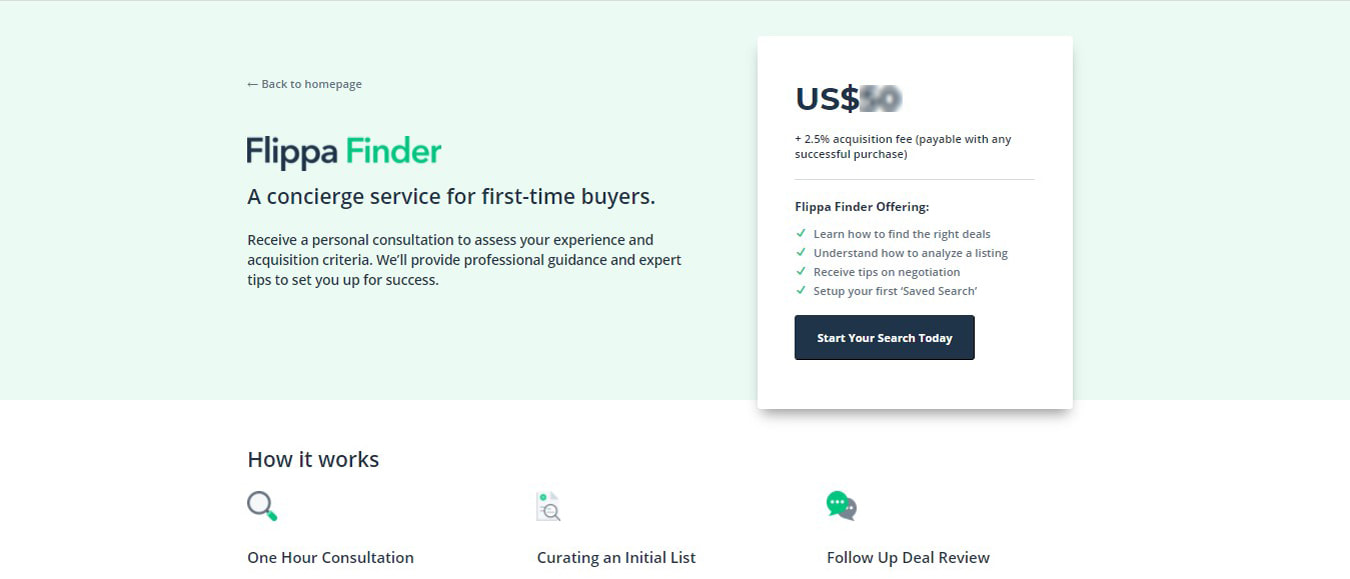 Buyers in Flippa Finder